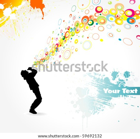 Man singing - stock vector