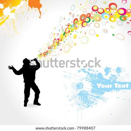 Man singing - stock vector