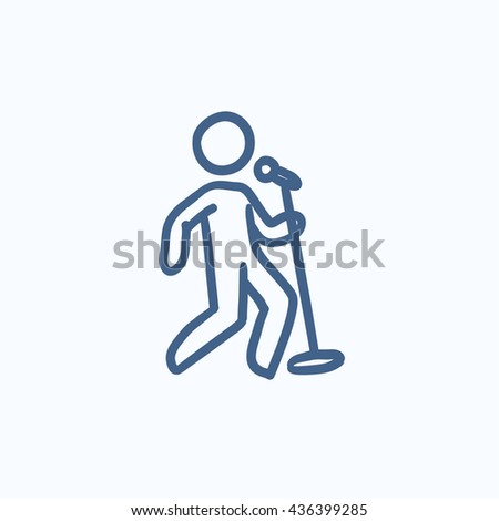 Man singing with microphone vector sketch icon isolated on background. Hand drawn Man singing with microphone icon. Man singing with microphone sketch icon for infographic, website or app. - stock vector