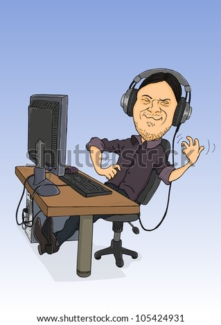Man sitting at the computer, listening to music and think that playing the guitar