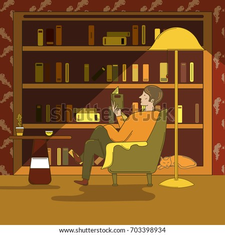 Man Sitting Armchair Reading Book Library Stock Photo (Photo, Vector,  Illustration) 703398934   Shutterstock