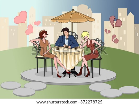 Man sitting in a cafe with beautiful women. Love Confession. Rivals. Emotions and feelings. Broken heart. Happy couple in love. Valentine's Day. Vector illustration.