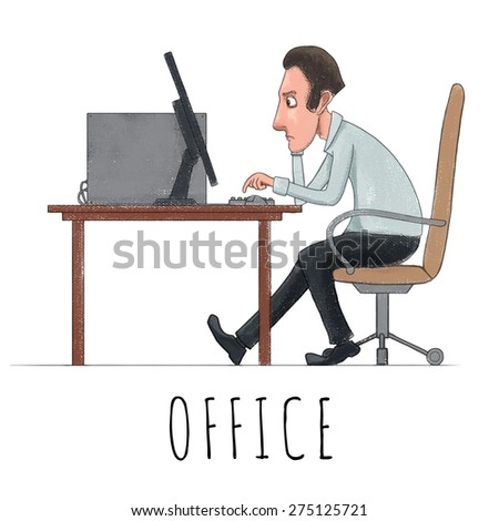 Man sitting in front of computer in office. Watercolor vector - stock vector