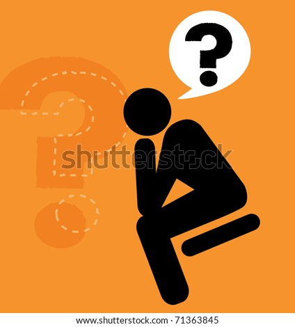 """Man sitting in that familiar pose of """"The Thinker"""" - stock vector"""