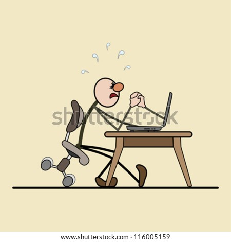 man sitting on a chair. computer on the desk. struggle between them. strong tension