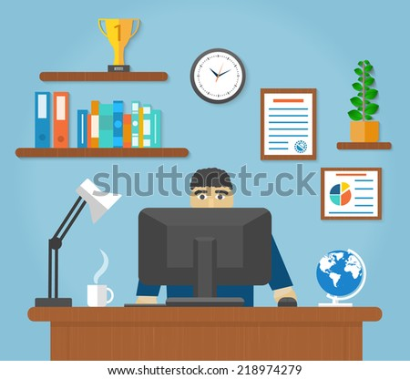 Man sitting on chair at table in front of computer monitor and shining lamp cartoon flat design style - stock vector