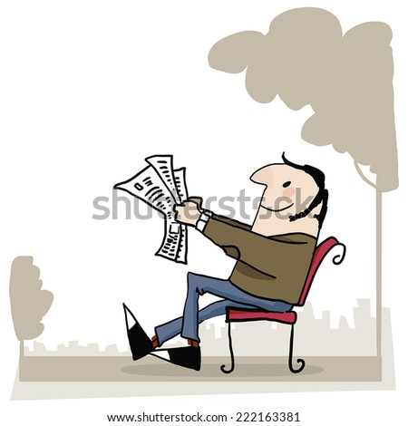 man sitting on the bench and reading newspapers. - stock vector