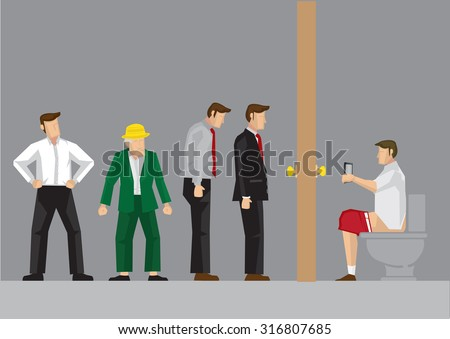Man sitting on toilet bowl playing with hand phone and long queue waiting line outside toilet door. Humor vector cartoon illustration isolated on grey background. - stock vector