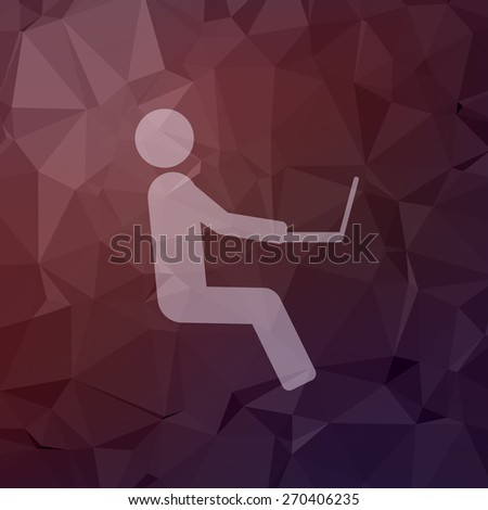 Man sitting with laptop icon in flat style for web and mobile, modern minimalistic flat design. Vector white icon on abstract polygonal background - stock vector