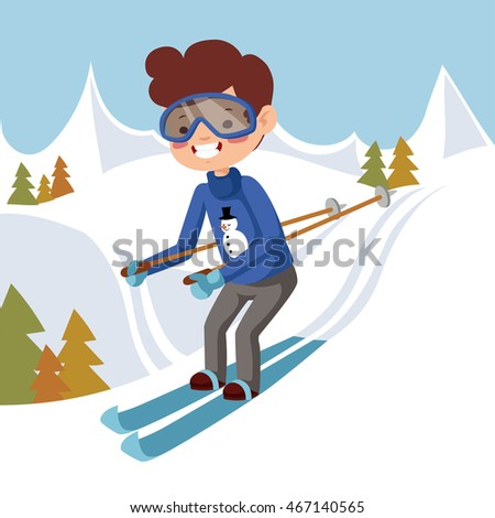 Man skiing off the mountain.