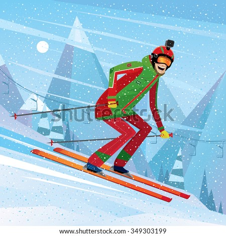 Man skiing with action camera on his head - fun or entertainment concept. Vector illustration - stock vector