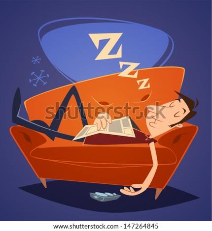 Man sleeping on sofa. Household series vector illustration. - stock vector