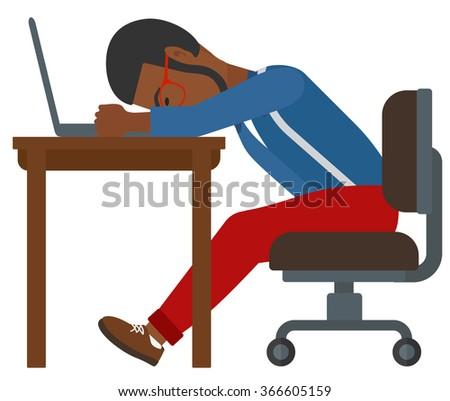 Man sleeping on workplace. - stock vector