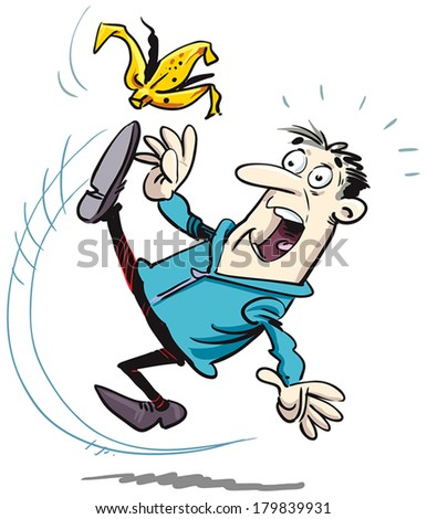 Man slip on banana. - stock vector