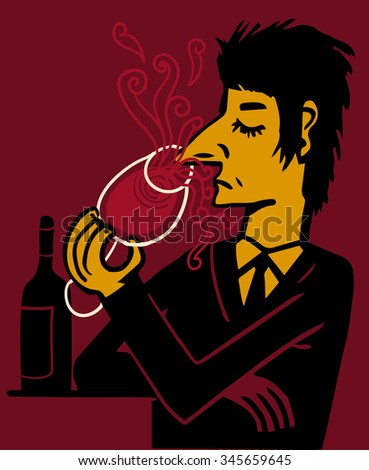 Man smelling a glass of red wine - stock vector