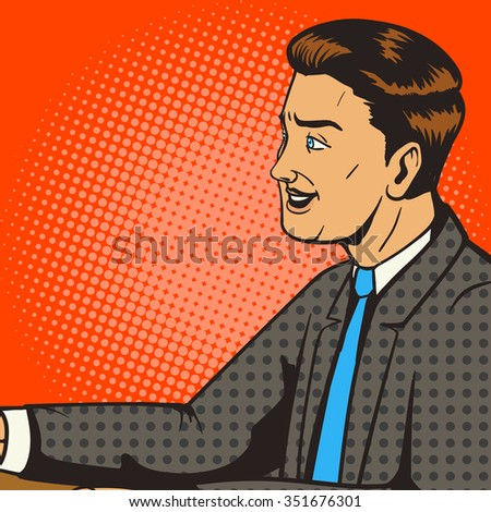Man smiling pop art retro style vector illustration. Comic book style imitation. Man on the interview
