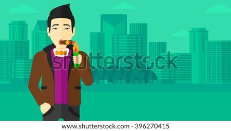 Man smoking cigar. - stock vector