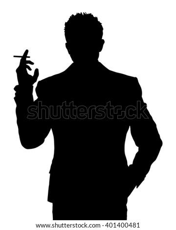 Man smoking silhouette - stock vector