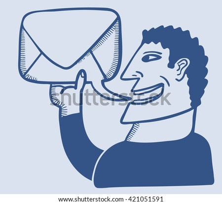 Man speaks a text balloon which in turn is a letter - stock vector
