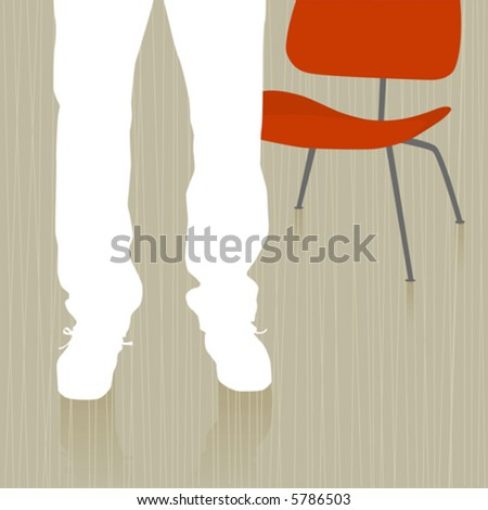 Man Standing by Chair abstract with reflection. Easy-edit layered vector file--No transparencies or strokes! - stock vector