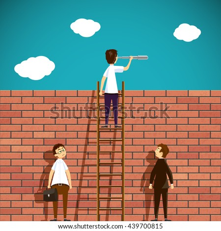 Man standing on a ladder. Brick wall. Stock Vector cartoon illustration. - stock vector