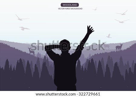 man standing on the top of mountain - stock vector