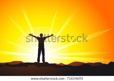 man standing on top of the hill with raised hands. Vector EPS8 - stock vector