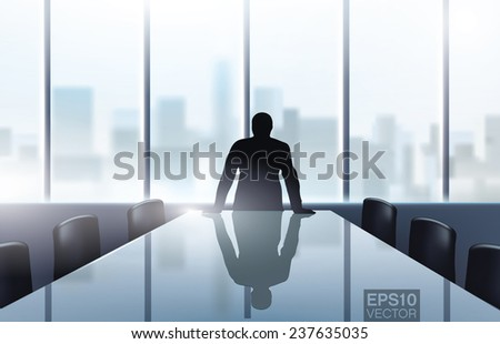 Man standing over the desk in modern office with a city view. Editable vector realistic graphic. - stock vector
