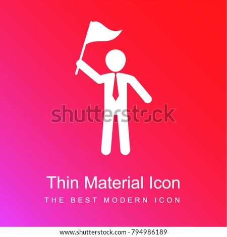 Man standing rising a flag in his right hand red and pink gradient material white icon minimal design