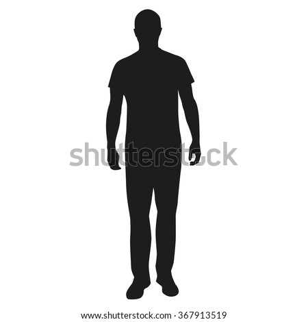 Man standing silhouette, people - stock vector