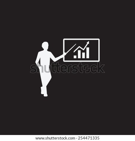 Man standing with pointer icon. Scheme and Diagram symbol. Presentation vector icon. - stock vector