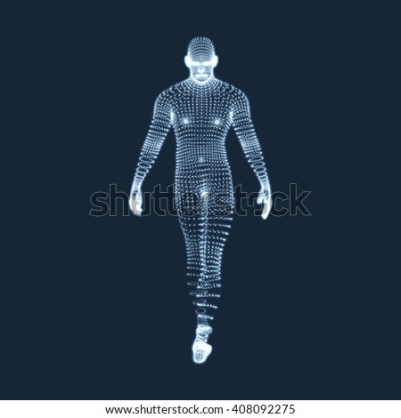 Man Stands on his Feet. 3D Model of Man. Vector Graphics Composed of Particles. - stock vector