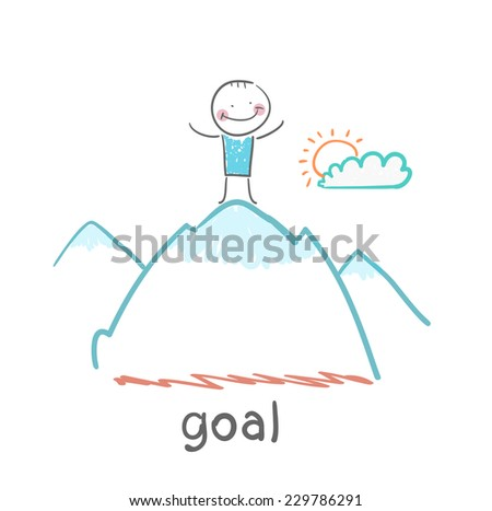 man stands on top of a mountain - stock vector