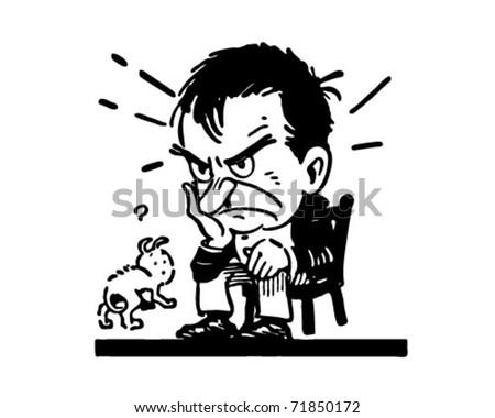Man Stewing - Retro Ad Art Illustration - stock vector