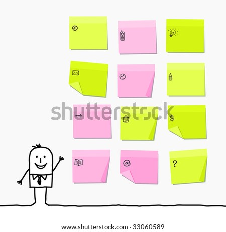 man & sticky notes - stock vector