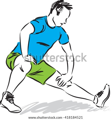 MAN STRETCHING EXERCISES ILLUSTRATION