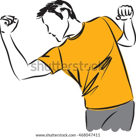 man stretching kick boxing illustration