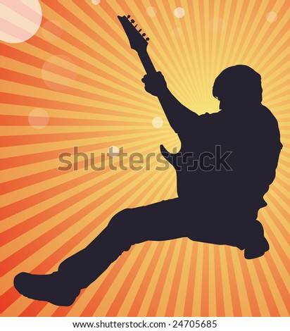 Man striking rock n' roll pose with electric guitar and sunburst background
