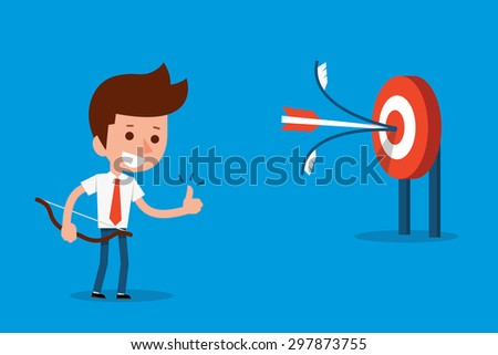 Man success target. - stock vector