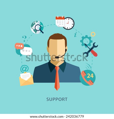 Man support operator. Flat illustration. - stock vector