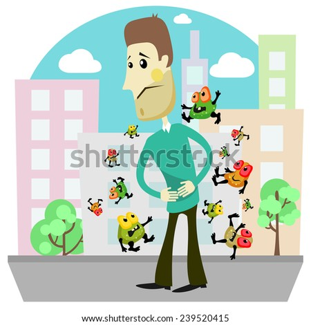 Man surrounded by germs with hands on stomach  - stock vector
