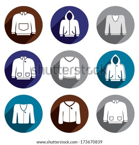 Man sweaters vector icon set. - stock vector