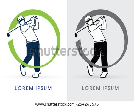 Man swinging golf , Golf players ,Club, logo, symbol, icon, graphic, vector. - stock vector
