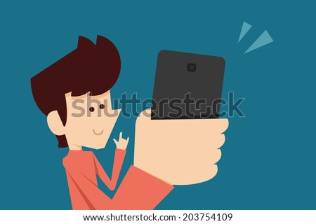 man taking selfie photo flat design - stock vector