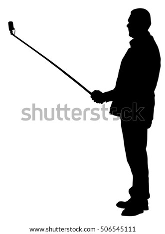 Man taking selfie picture vector silhouette illustration isolated on white background. taking selfie - hand hold monopod with mobile phone.