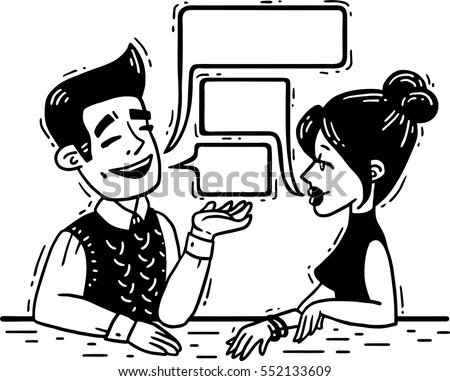 man talking with a woman comics