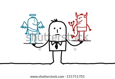 man & temptation - stock vector