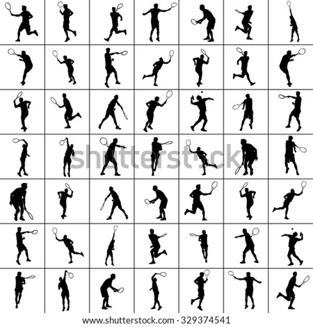 Man tennis players vector silhouette isolated on white background.  Big set of sport tennis silhouette isolated. Editable different recreaation silhouettes. - stock vector