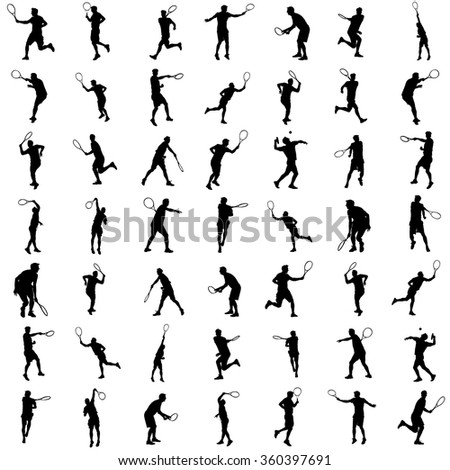 Man tennis players vector silhouette isolated on white background. Big set of sport tennis silhouette isolated. Editable different recreation silhouettes.