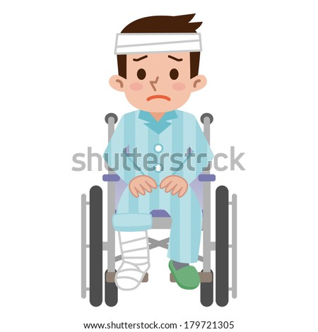 Man that was hurt is sitting in a wheelchair - stock vector